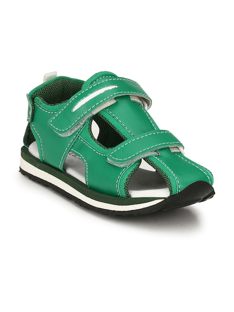 TUSKEY Boys Green Comfort Leather Sandals