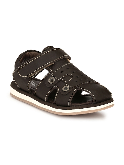 TUSKEY Boys Coffee Brown Comfort Leather Sandals