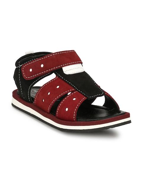 TUSKEY Boys Maroon Comfort Leather Sandals