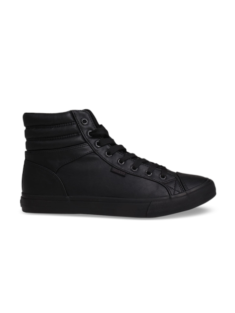 SoulCal Men Black Solid Synthetic High-Top Sneakers