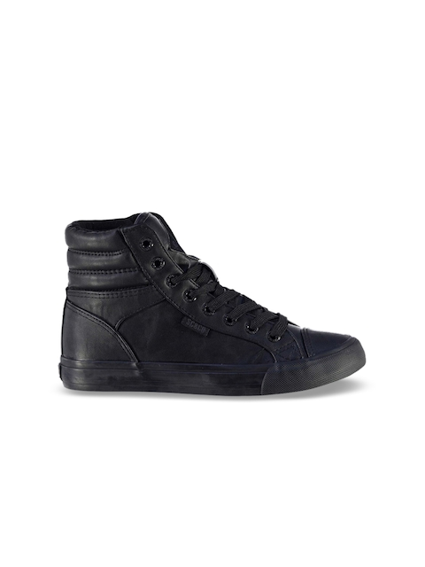 SoulCal Girls Black Solid Synthetic High-Top Sneakers