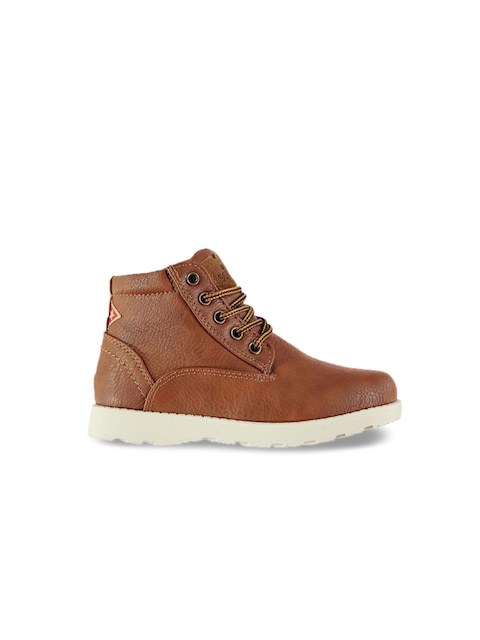 Soviet Boys Tan Solid Synthetic High-Top Flat Boots