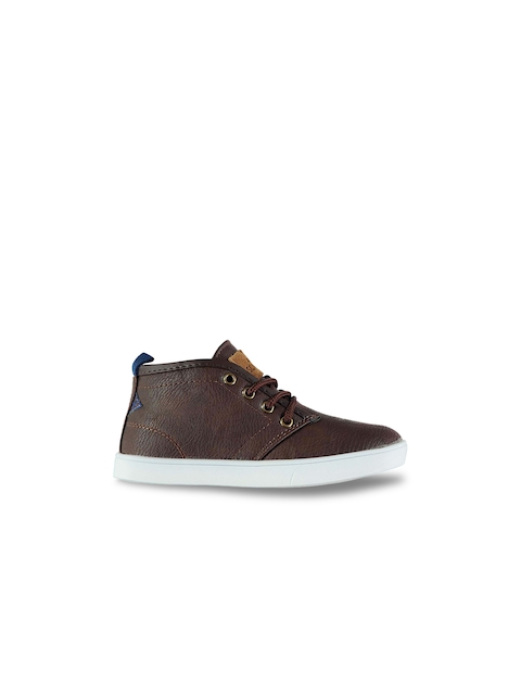 Soviet Boys Brown Solid Synthetic Leather Mid-Top Flat Boots
