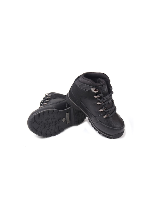 Firetrap Boys Black Solid Leather Mid-Top Flat Boots
