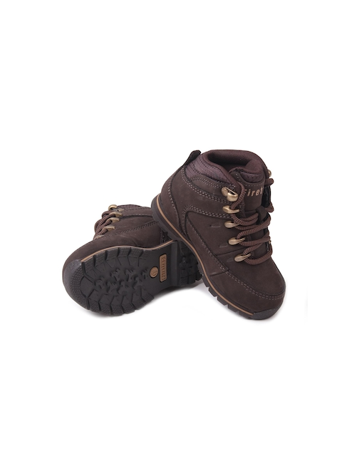 Firetrap Boys Brown Solid Leather Mid-Top Flat Boots
