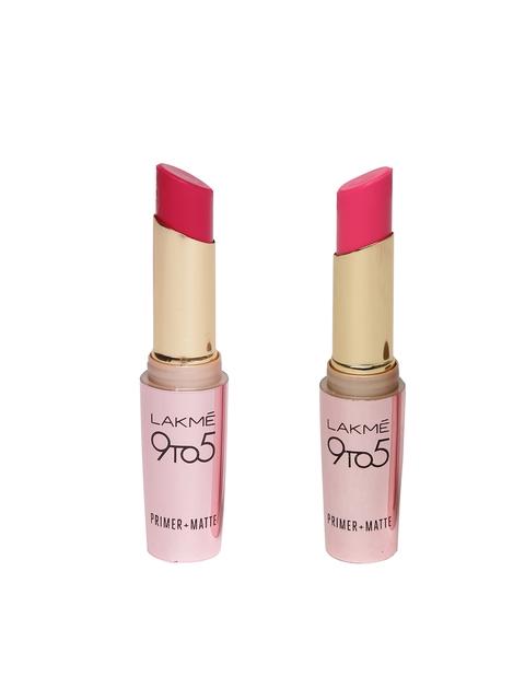 Lakme 9 to 5 Primer+Matte Blush Book Lipstick MP19 & 9 to 5 Primer+Matte Crimson Cue Lipstick MR19
