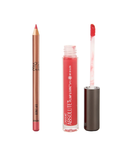 Lakme Absolute Pink Shine Plump & Shine Lip Gloss & 9 to 5 Coral Chic Lip Liner