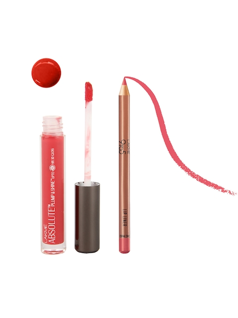 Lakme Absolute Plump & Shine Pink Shine Lip Gloss & 9to5 Coral Chic Lip Liner