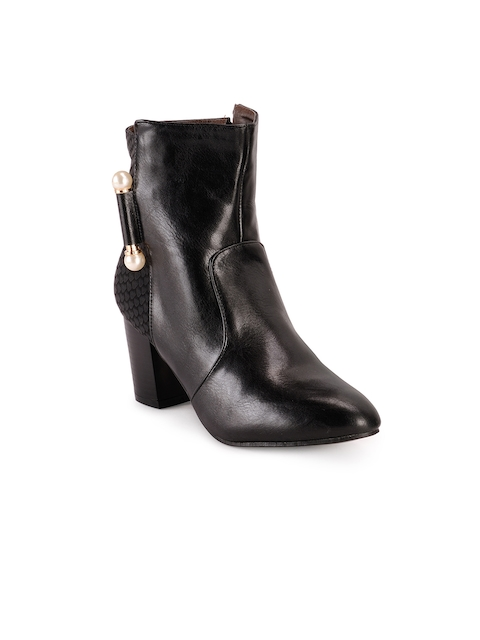 Nell Women Black Solid Heeled Boots