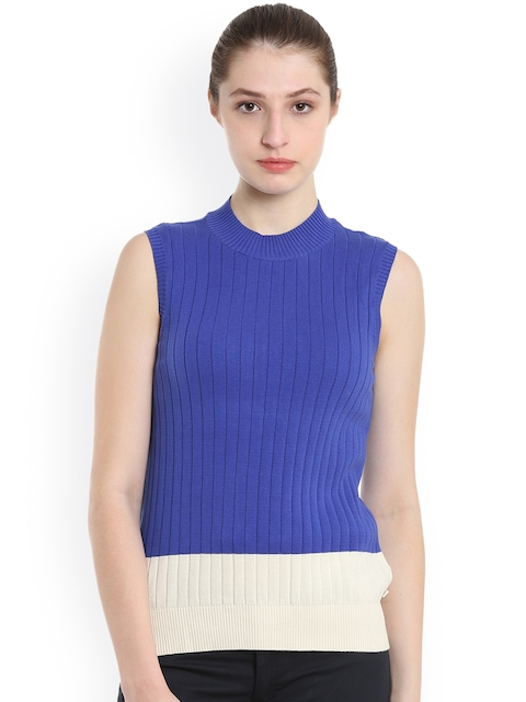 United Colors of Benetton Women Blue Solid Pullover