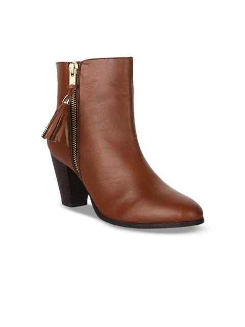 Bruno Manetti Women Tan Brown Heeled Boots