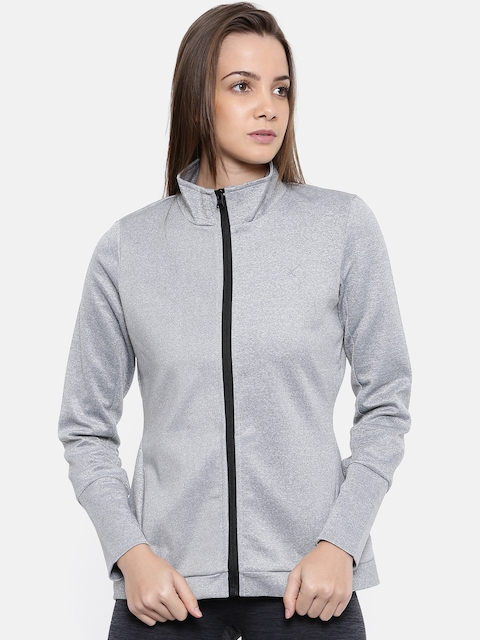 HRX by Hrithik Roshan Women Grey Melange Solid Sporty Jacket