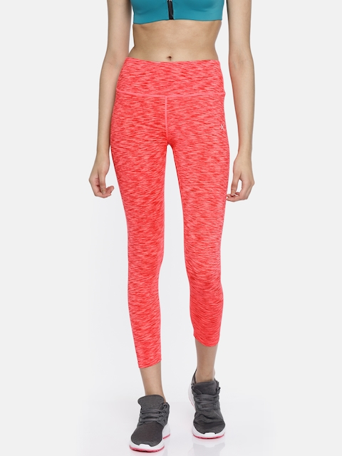 HRX Active by Hrithik Roshan Coral Pink RAPID-DRY Crop Tights