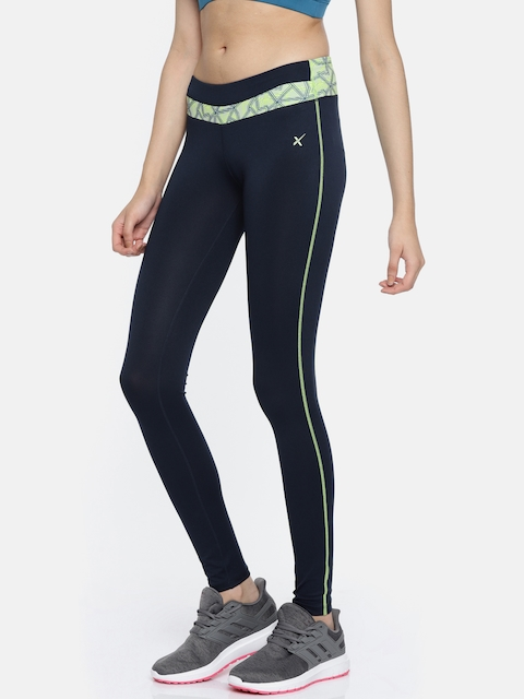 HRX by Hrithik Roshan Women Blue Solid Tights