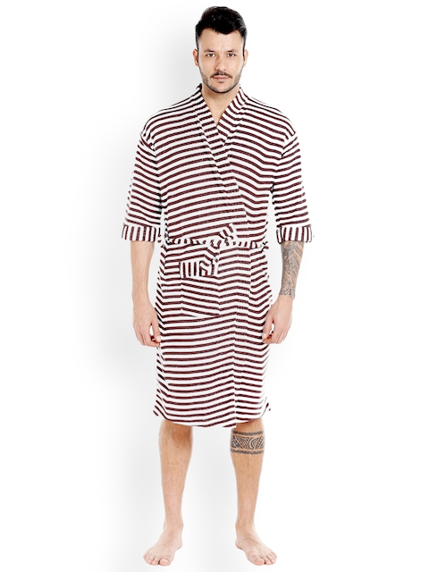 Sand Dune Brown & White Striped Bathrobe