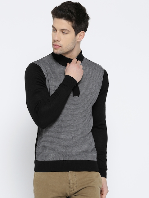 Blackberrys Men Black & Grey Self-Design Sweater