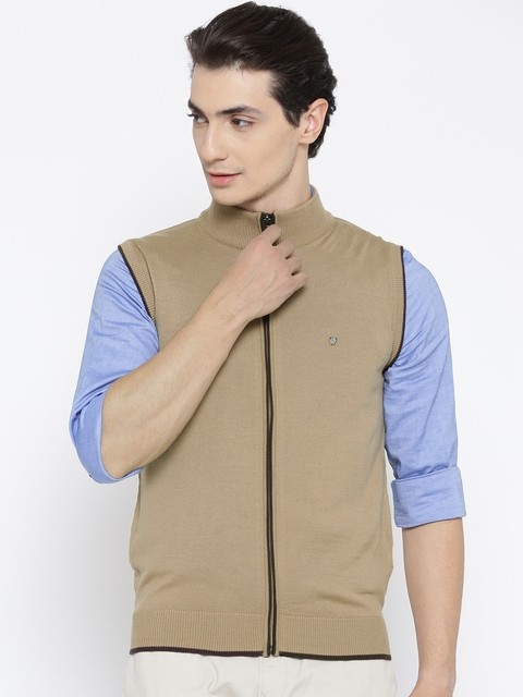 Blackberrys Men Beige Solid Cardigan