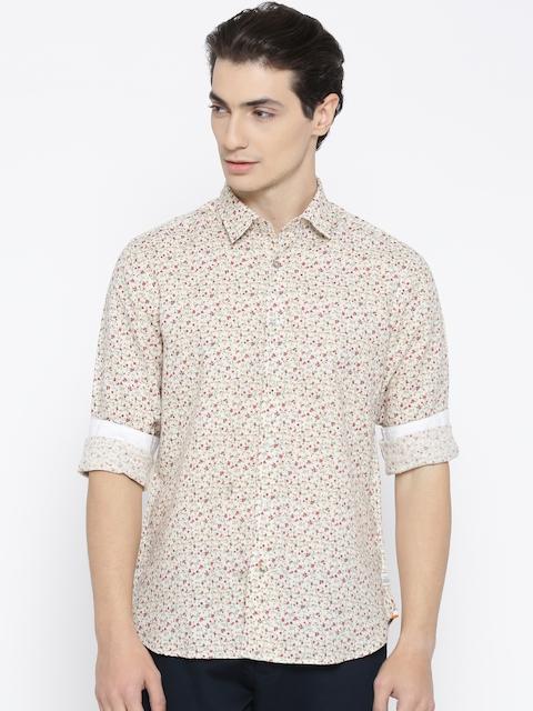 Blackberrys Men Beige & Red Slim Fit Floral Print Casual Shirt