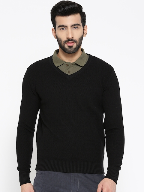 Blackberrys Men Black Self Design Sweater