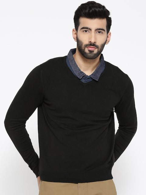 Blackberrys Men Black Solid Sweater