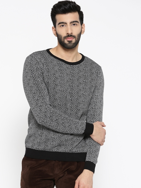 Blackberrys Men Black & White Self-Design Sweater