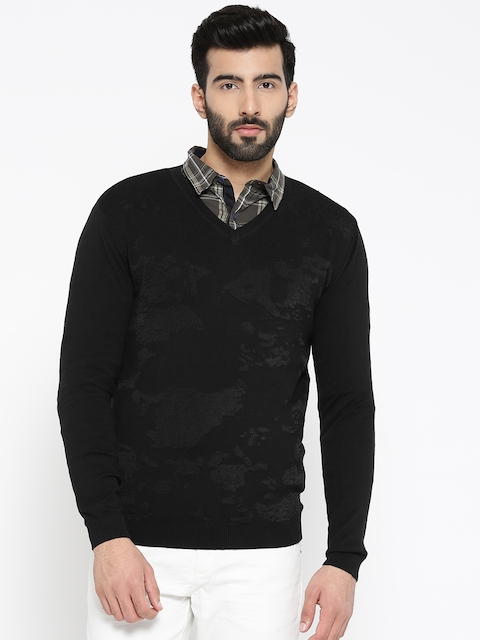 Blackberrys Men Black Self-Design Pullover