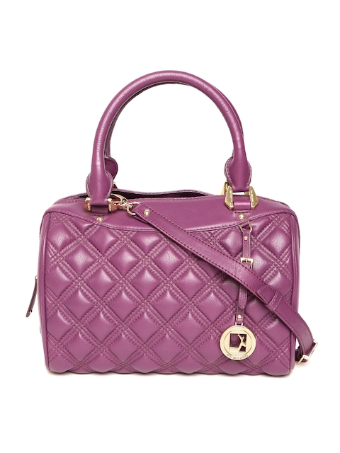Da Milano Purple Quilted Leather Handheld Bag with Sling Bag