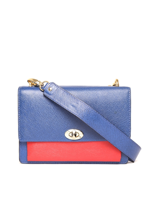 Da Milano Blue Leather Solid Sling Bag