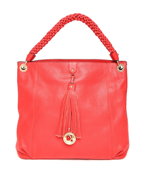 Da Milano Red Solid Leather Shoulder Bag