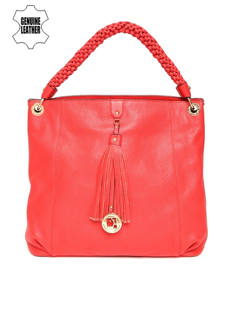 Da Milano Red Solid Genuine Leather Shoulder Bag