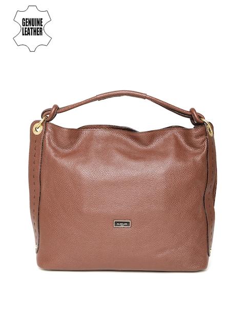 Da Milano Brown Solid Genuine Leather Handheld Bag
