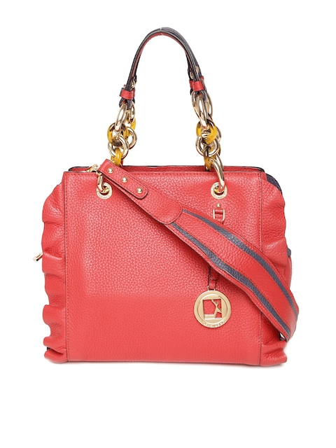 Da Milano Red Leather Handheld Bag with Sling Strap