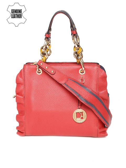 Da Milano Red Genuine Leather Handheld Bag with Sling Strap