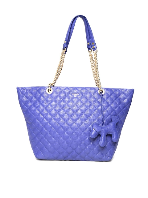 Da Milano Blue Quilted Leather Shoulder Bag