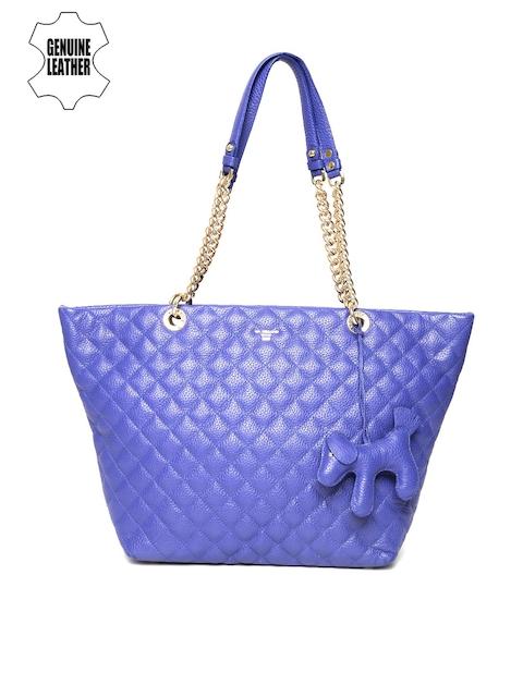 Da Milano Blue Quilted Genuine Leather Shoulder Bag