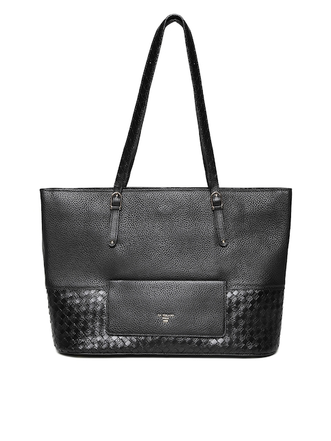 Da Milano Black Leather Shoulder Bag with Basketweave Pattern