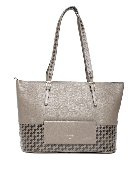 Da Milano Grey Leather Shoulder Bag with Basketweave Pattern