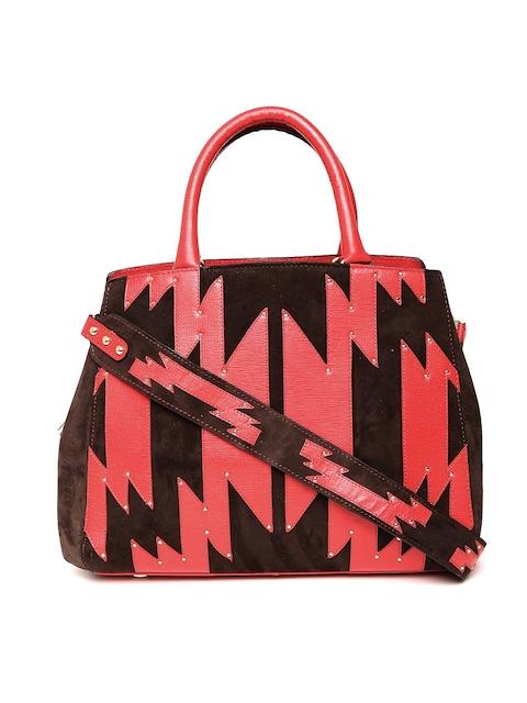 Da Milano Brown & Red Solid Handheld Bag