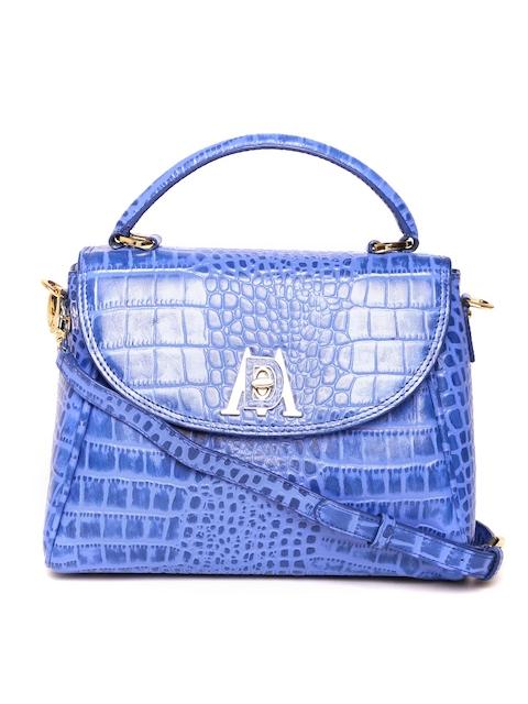 Da Milano Blue Leather Textured Handheld Bag