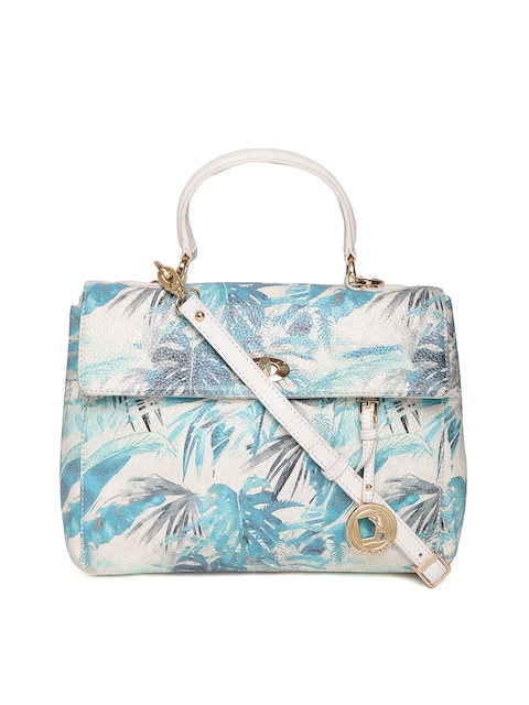 Da Milano Blue & Off-White Tropical Print Leather Satchel with Sling Strap
