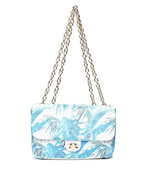Da Milano Off-White & Blue Printed Leather Shoulder Bag