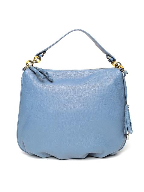 Da Milano Blue Solid Leather Shoulder Bag