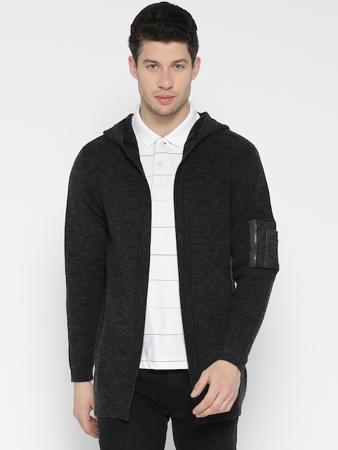 Monte Carlo Men Charcoal Grey Hooded Front-Open Sweater