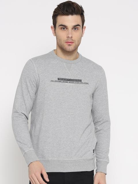 Monte Carlo Men Grey Melange Solid Sweatshirt