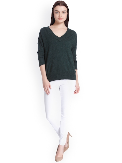 Vero Moda Women Green Solid Pullover