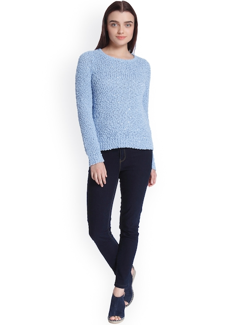 Vero Moda Women Blue Self Design Pullover