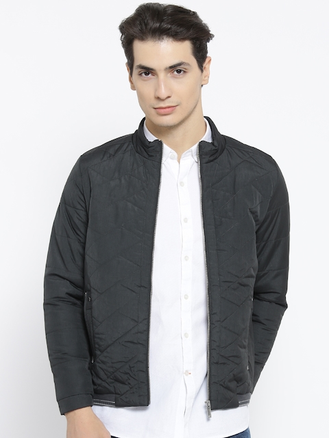 Monte Carlo Men Charcoal Grey Solid Quilted Jacket