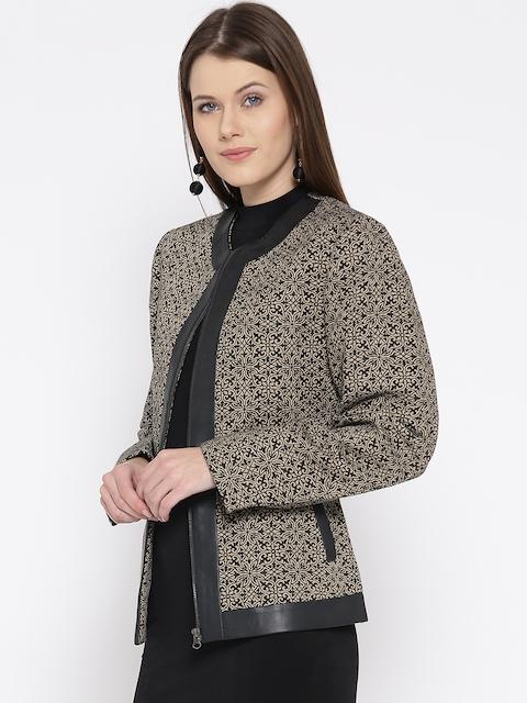 Fort Collins Women Beige & Black Self-Design Tailored Jacket