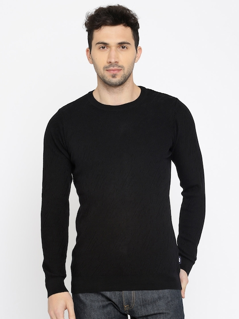 Jack & Jones Men Black Self Design Pullover