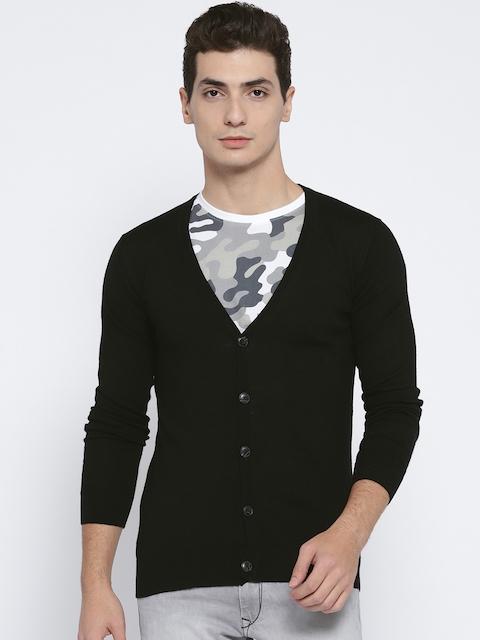 Jack & Jones Men Black Merino Wool Solid Cardigan